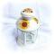 Felinar alb din metal pentru lumanare pastila - Floarea soarelui - 9707