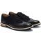 Pantofi barbati din piele naturala Eddie aspect brogue, Negru 44